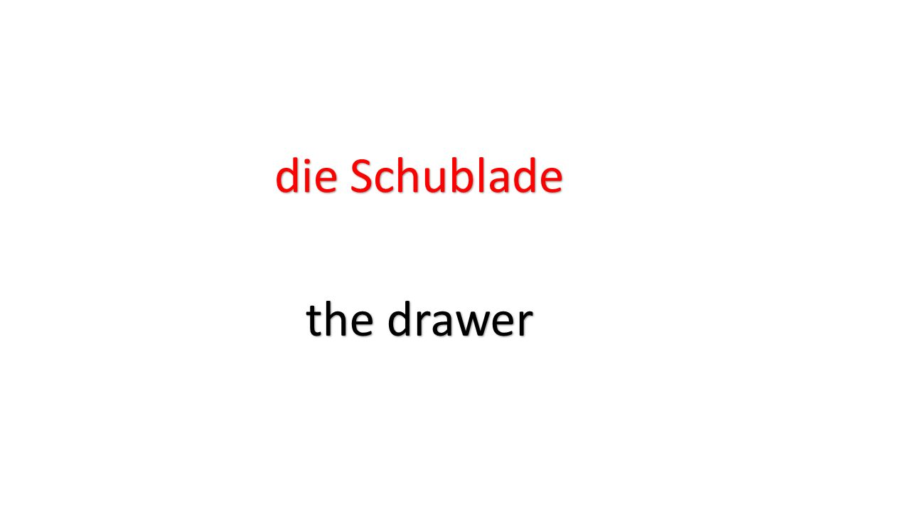 die Schublade the drawer