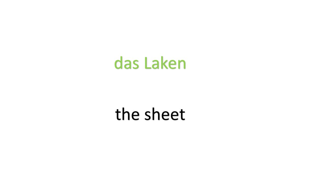 das Laken the sheet