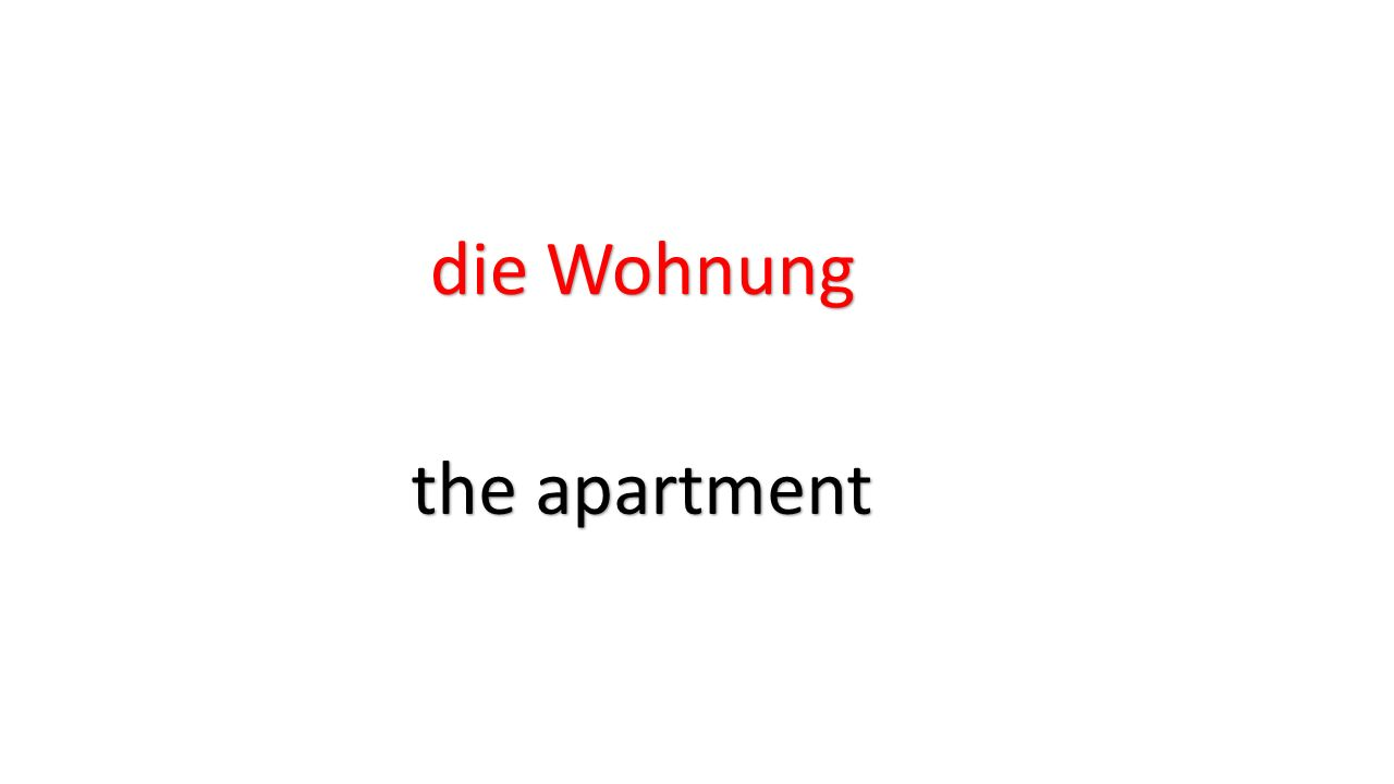 die Wohnung the apartment