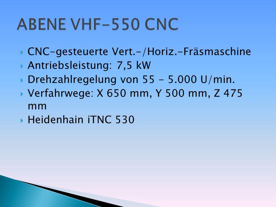 CNC-gesteuerte Vert.-/Horiz.-Fräsmaschine Antriebsleistung: 7,5 kW Drehzahlregelung von 55 - 5.000 U/min. Verfahrwege: X 650 mm, Y 500 mm, Z 475 mm He