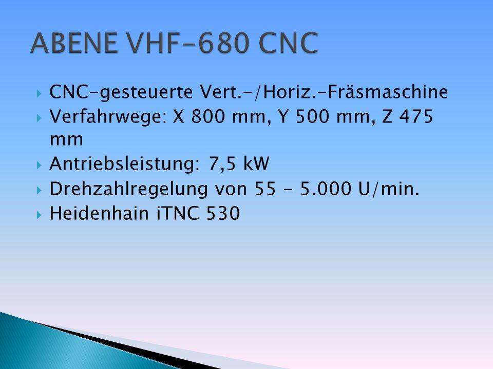 CNC-gesteuerte Vert.-/Horiz.-Fräsmaschine Verfahrwege: X 800 mm, Y 500 mm, Z 475 mm Antriebsleistung: 7,5 kW Drehzahlregelung von 55 - 5.000 U/min. He