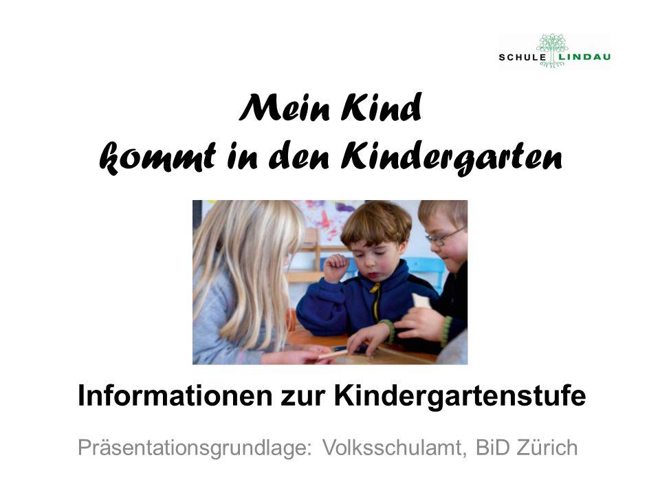 Mein Kind kommt in den Kindergarten Informationen zur Kindergartenstufe Präsentationsgrundlage: Volksschulamt, BiD Zürich