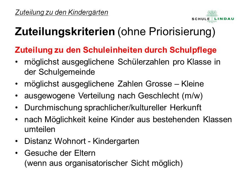 Zuteilung zu den Kindergärten Zuteilungskriterien (ohne Priorisierung) Zuteilung zu den Schuleinheiten durch Schulpflege möglichst ausgeglichene Schül