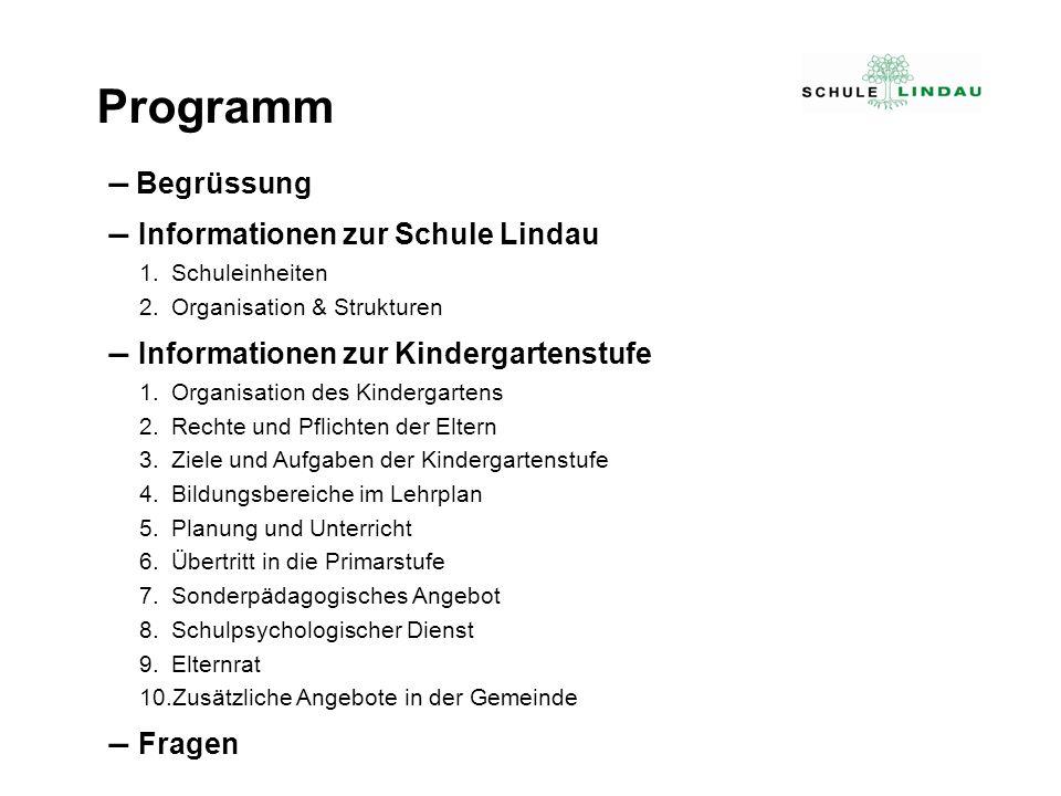 – Begrüssung – Informationen zur Schule Lindau 1.Schuleinheiten 2.Organisation & Strukturen – Informationen zur Kindergartenstufe 1.Organisation des K