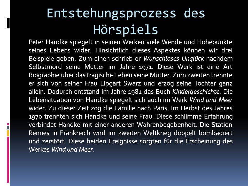 Peter Handke als Vertreter «Neue Subjektivität» Unter dem Begriff Neue Subjektivität versteht man eine neue Richtung der deutschen Literatur in den siebziger Jahren, welche Probleme im Privatleben, persönliche Träume bzw.