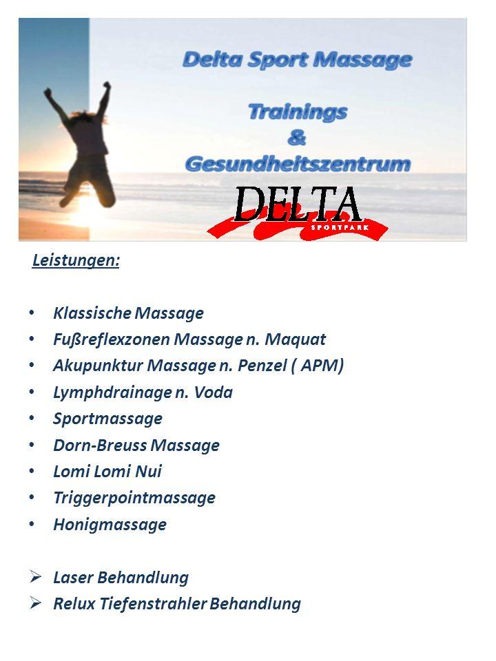 Leistungen: Klassische Massage Fußreflexzonen Massage n. Maquat Akupunktur Massage n. Penzel ( APM) Lymphdrainage n. Voda Sportmassage Dorn-Breuss Mas
