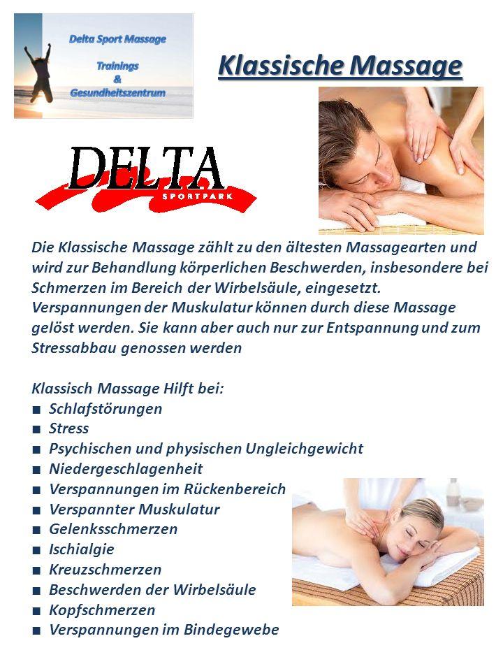 Die Klassische Massage zählt zu den ältesten Massagearten und wird zur Behandlung körperlichen Beschwerden, insbesondere bei Schmerzen im Bereich der