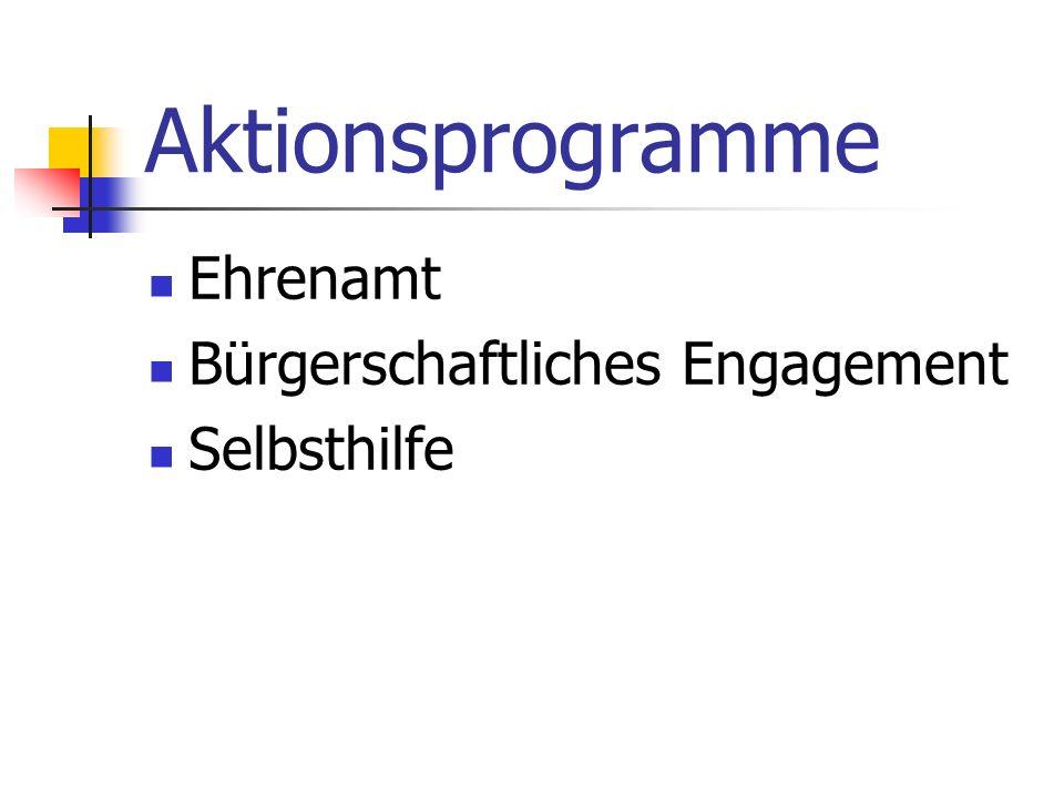 Aktionsprogramme Ehrenamt Bürgerschaftliches Engagement Selbsthilfe