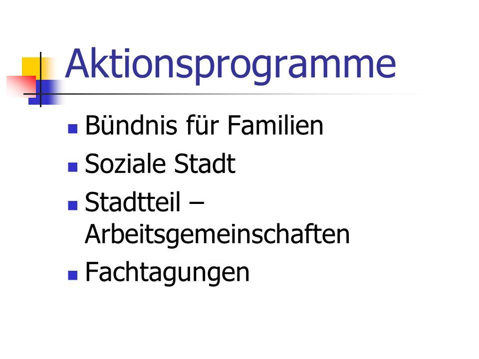 Aktionsprogramme Bündnis für Familien Soziale Stadt Stadtteil – Arbeitsgemeinschaften Fachtagungen