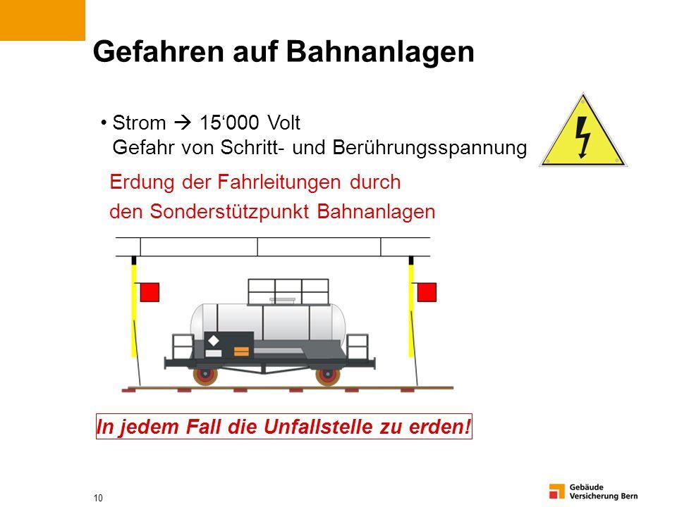 10 Gefahren auf Bahnanlagen Strom 15000 Volt Gefahr von Schritt- und Berührungsspannung Erdung der Fahrleitungen durch den Sonderstützpunkt Bahnanlage