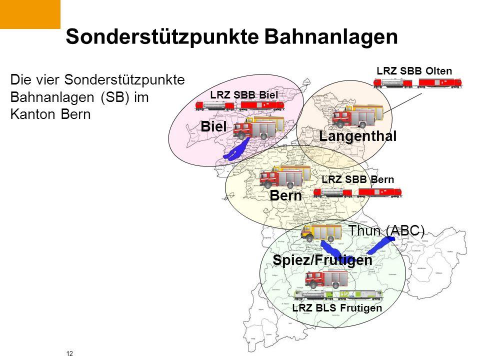12 Sonderstützpunkte Bahnanlagen Langenthal Bern Biel LRZ SBB Olten Spiez/Frutigen Thun (ABC) LRZ SBB Biel LRZ SBB Bern LRZ BLS Frutigen Die vier Sond
