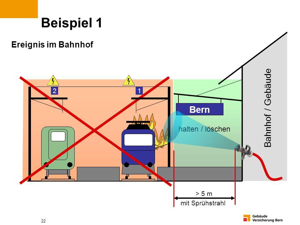 22 Beispiel 1 Bern > 5 m mit Sprühstrahl Ereignis im Bahnhof 1 2 Bahnhof / Gebäude halten / löschen