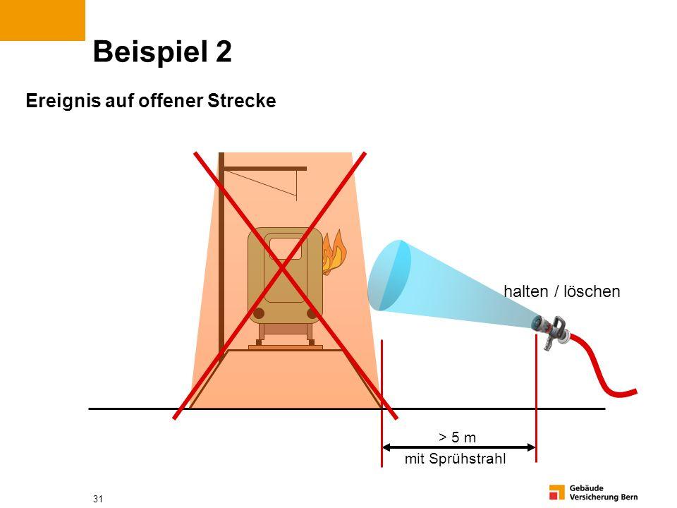 31 Beispiel 2 Ereignis auf offener Strecke > 5 m mit Sprühstrahl halten / löschen