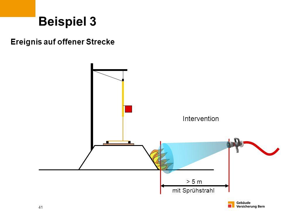 41 Beispiel 3 Ereignis auf offener Strecke > 5 m mit Sprühstrahl Intervention