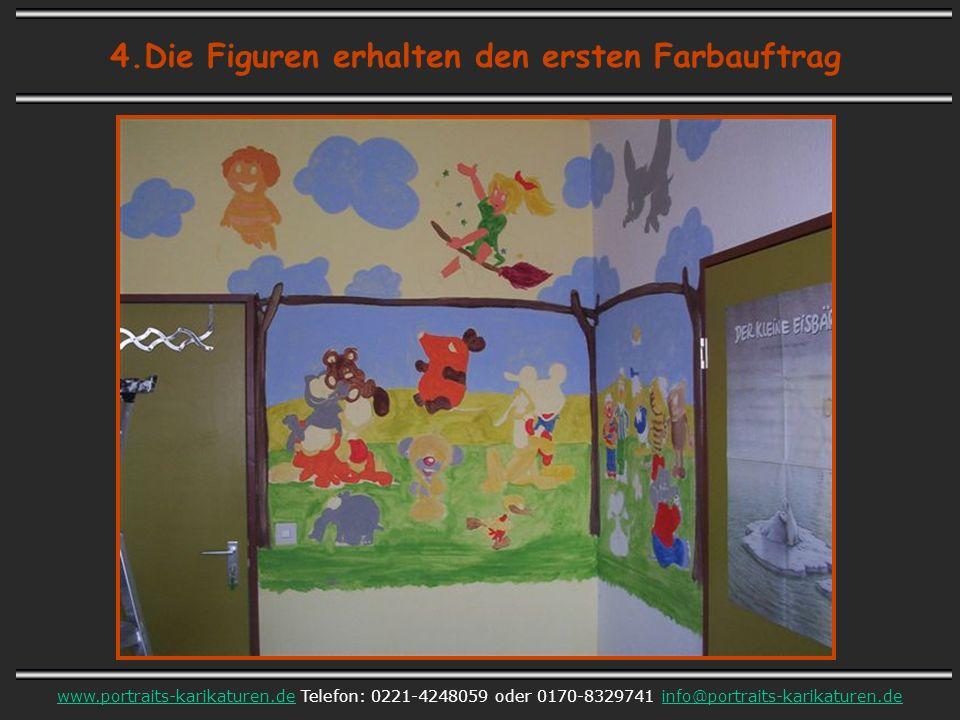 4.Die Figuren erhalten den ersten Farbauftrag www.portraits-karikaturen.dewww.portraits-karikaturen.de Telefon: 0221-4248059 oder 0170-8329741 info@portraits-karikaturen.deinfo@portraits-karikaturen.de
