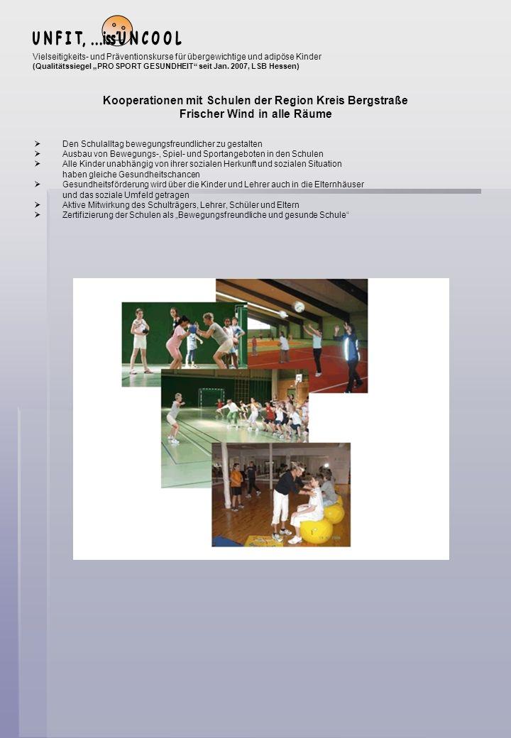 Vorteile – Schulen Förderung der Zusammenarbeit von Schule und Verein Einbindung der Sportlehrer als Fachübungsleiter Fortbildungsmaßnahmen über den LSB Die Vielseitigkeits- und Präventionskurse werden überwiegend über die Sportlehrer abgedeckt Sportlehrer erhalten eine Zulassung über die Krankenkassen im Bereich Prävention Die Schule deckt alle 4 Präventionsbereiche ab (Erreichen des Gütesiegels/Zertifikat) Gemeinsame Qualitätsentwicklung Bewegungsfreundliche Gestaltung des Schullebens Kinder und Jugendliche anregen und befähigen, bis ins hohe Alter ihre Gesundheit durch regelmäßiges Sporttreiben zu erhalten Anerkennung und Zunahme des Bekanntheitsgrades in der Öffentlichkeit Vorteile - Kind und Verein/Kurs Kinder und Jugendliche lernen eine große Palette von verschiedenen Bewegungs-, Spiel und Sportangebote kennen.