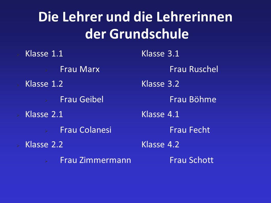 Die Lehrer und die Lehrerinnen der Grundschule Klasse 1.1 Frau Marx Klasse 1.2 Frau Geibel Klasse 2.1 Frau Colanesi Klasse 2.2 Frau Zimmermann Klasse