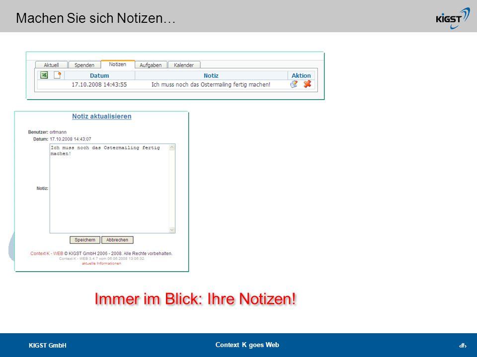KIGST GmbH Context K goes Web 19 Ihre unbedankten Spender immer im Blick! Bedanken bevor die Sonne untergeht…