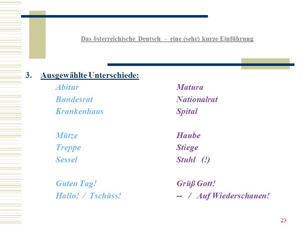 23 Das österreichische Deutsch - eine (sehr) kurze Einführung 3.Ausgewählte Unterschiede: AbiturMatura BundesratNationalrat KrankenhausSpital MützeHaube TreppeStiege SesselStuhl (!) Guten Tag!Grüß Gott.