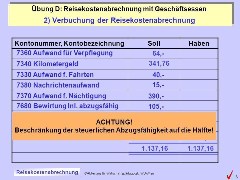 ©Abteilung für Wirtschaftspädagogik, WU-Wien 3 2) Verbuchung der Reisekostenabrechnung Übung D: Reisekostenabrechnung mit Geschäftsessen 7360 Aufwand
