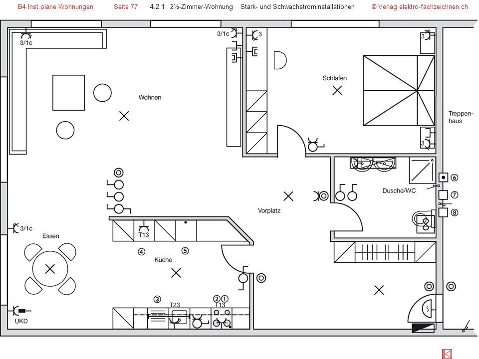 © Verlag elektro-fachzeichnen.ch4.2.1 2½-Zimmer-Wohnung Stark- und SchwachstrominstallationenB4 Inst.pläne WohnungenSeite 77