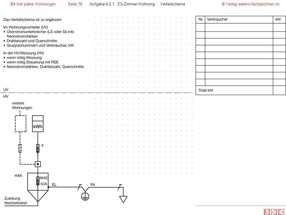 © Verlag elektro-fachzeichnen.chAufgabe 4.2.1 2½-Zimmer-Wohnung VerteilschemaB4 Inst.pläne WohnungenSeite 78