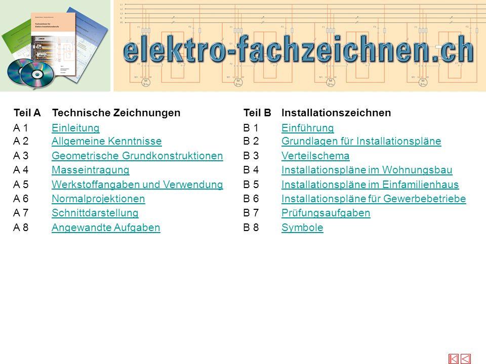 © Verlag elektro-fachzeichnen.ch Teil A A 1 Technische Zeichnungen Einleitung Teil B B 1 Installationszeichnen Einführung A 2Allgemeine KenntnisseB 2G