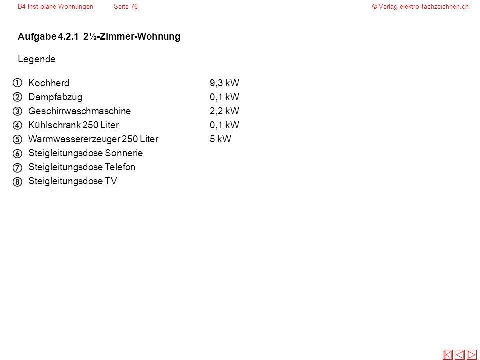 © Verlag elektro-fachzeichnen.ch Aufgabe 4.2.1 2½-Zimmer-Wohnung Legende Kochherd9,3 kW Dampfabzug0,1 kW Geschirrwaschmaschine2,2 kW Kühlschrank 250 L