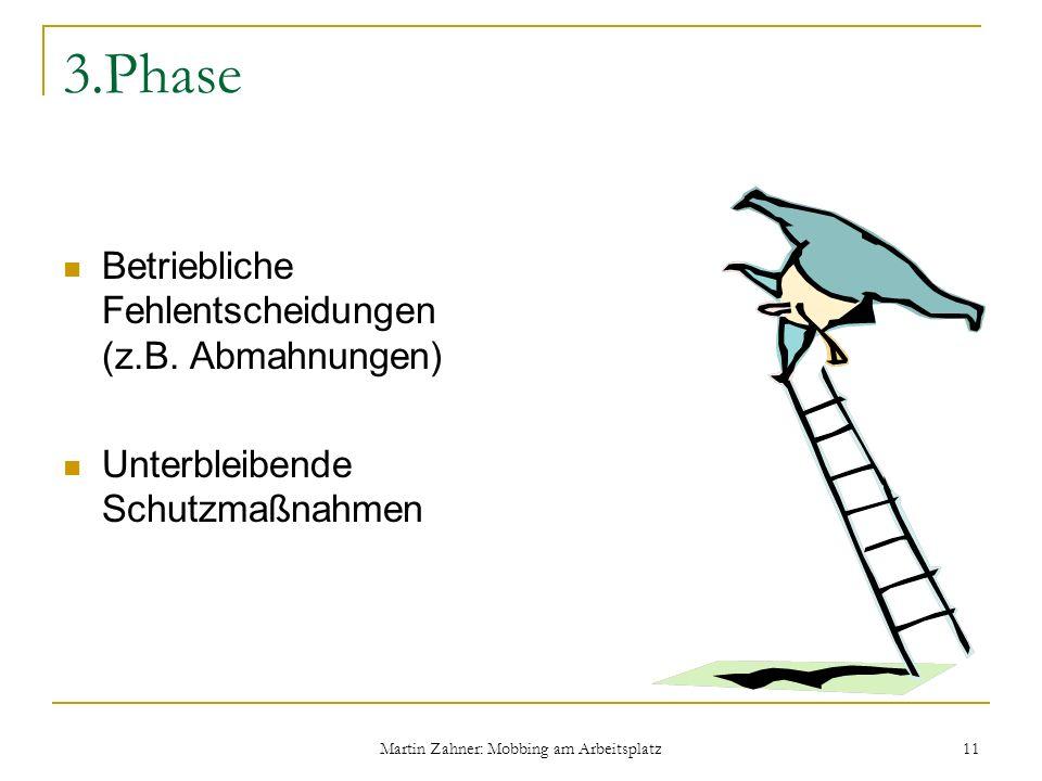 Martin Zahner: Mobbing am Arbeitsplatz 11 3.Phase Betriebliche Fehlentscheidungen (z.B. Abmahnungen) Unterbleibende Schutzmaßnahmen