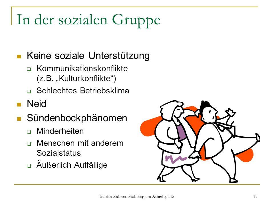 Martin Zahner: Mobbing am Arbeitsplatz 17 In der sozialen Gruppe Keine soziale Unterstützung Kommunikationskonflikte (z.B. Kulturkonflikte) Schlechtes