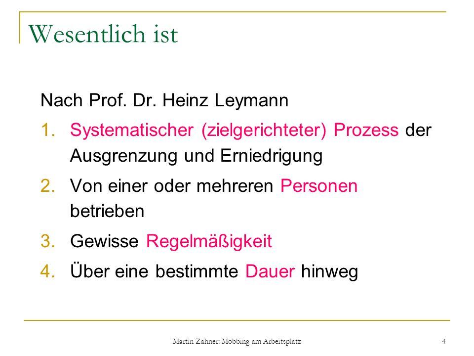 Martin Zahner: Mobbing am Arbeitsplatz 4 Wesentlich ist Nach Prof. Dr. Heinz Leymann 1.Systematischer (zielgerichteter) Prozess der Ausgrenzung und Er