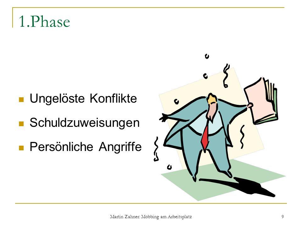 Martin Zahner: Mobbing am Arbeitsplatz 9 1.Phase Ungelöste Konflikte Schuldzuweisungen Persönliche Angriffe