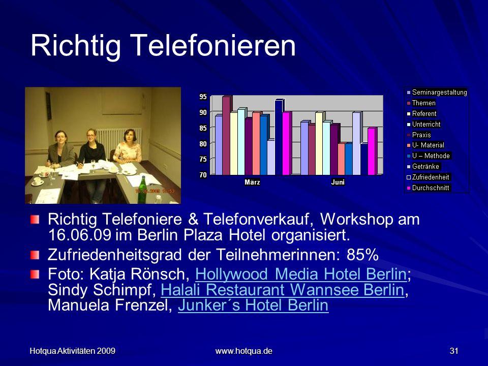 Hotqua Aktivitäten 2009 www.hotqua.de 31 Richtig Telefonieren Richtig Telefoniere & Telefonverkauf, Workshop am 16.06.09 im Berlin Plaza Hotel organis
