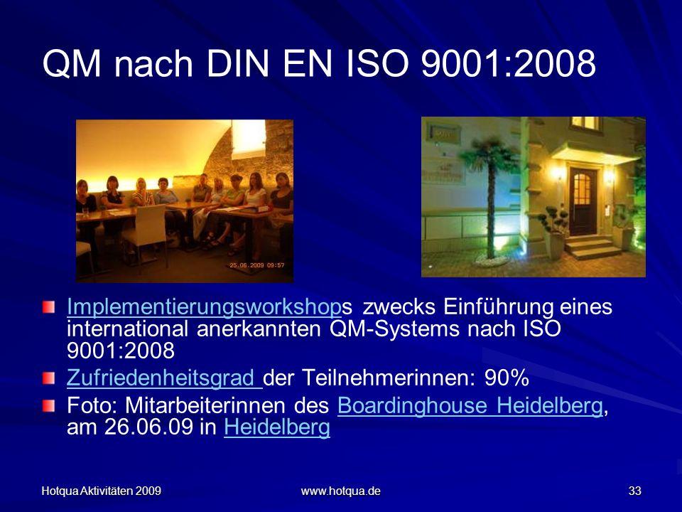 Hotqua Aktivitäten 2009 www.hotqua.de 33 QM nach DIN EN ISO 9001:2008 ImplementierungsworkshopImplementierungsworkshops zwecks Einführung eines intern
