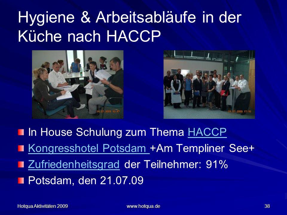 Hotqua Aktivitäten 2009 www.hotqua.de 38 Hygiene & Arbeitsabläufe in der Küche nach HACCP In House Schulung zum Thema HACCPHACCP Kongresshotel Potsdam