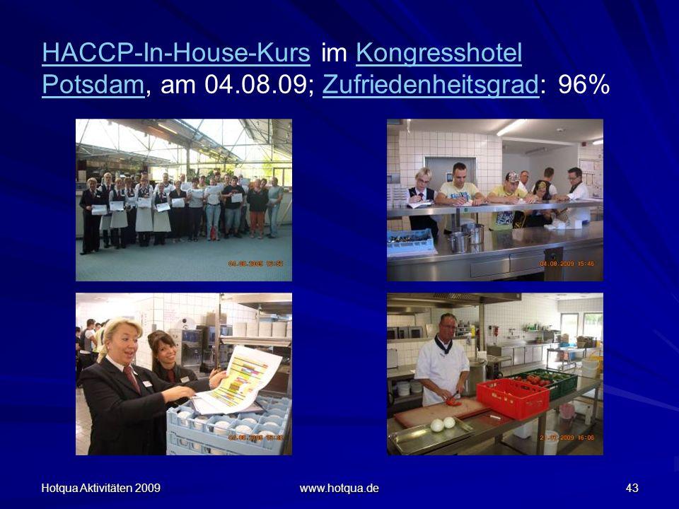 Hotqua Aktivitäten 2009 www.hotqua.de 43 HACCP-In-House-KursHACCP-In-House-Kurs im Kongresshotel Potsdam, am 04.08.09; Zufriedenheitsgrad: 96%Kongress