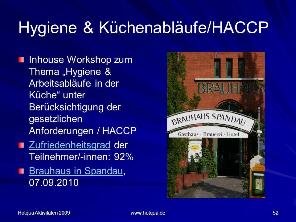 Hotqua Aktivitäten 2009 www.hotqua.de 52 Hygiene & Küchenabläufe/HACCP Inhouse Workshop zum Thema Hygiene & Arbeitsabläufe in der Küche unter Berücksi