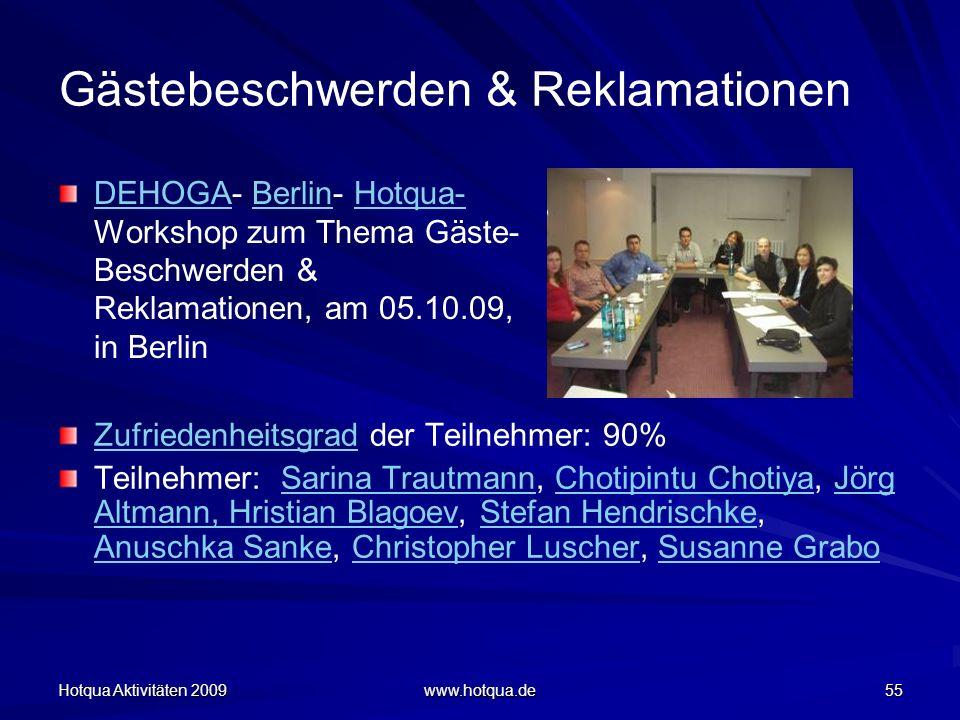 Hotqua Aktivitäten 2009 www.hotqua.de 55 Gästebeschwerden & Reklamationen DEHOGADEHOGA- Berlin- Hotqua- Workshop zum Thema Gäste- Beschwerden & Reklam