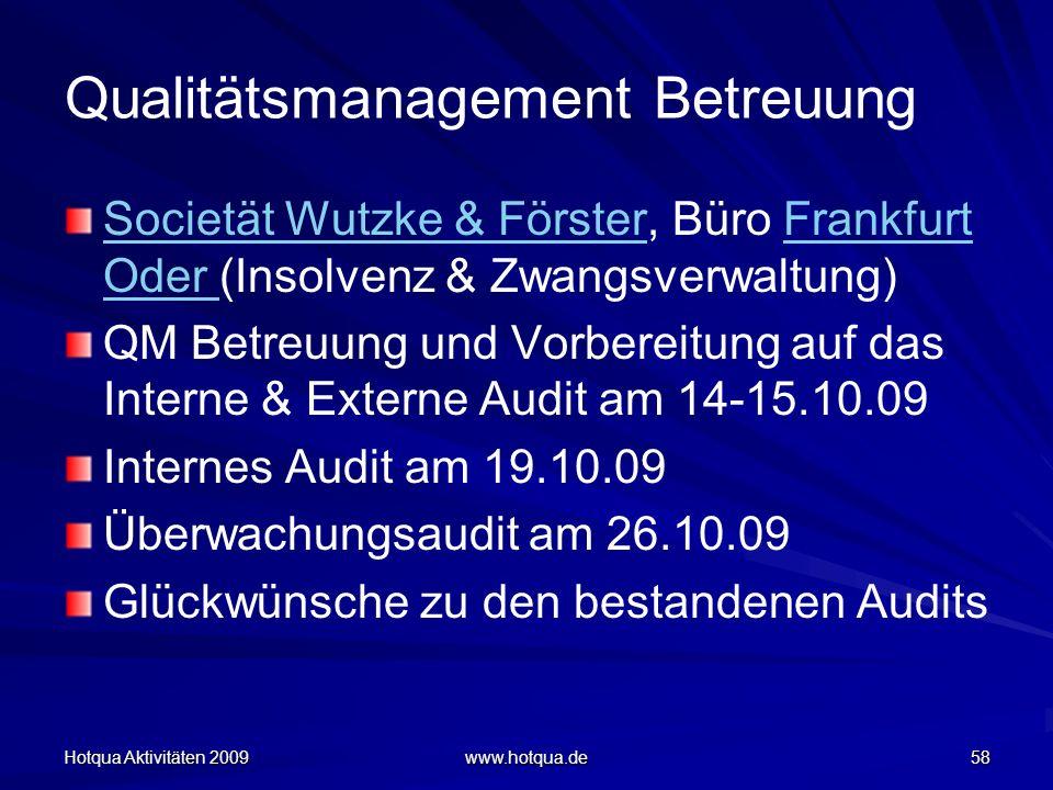 Hotqua Aktivitäten 2009 www.hotqua.de 58 Qualitätsmanagement Betreuung Societät Wutzke & FörsterSocietät Wutzke & Förster, Büro Frankfurt Oder (Insolv