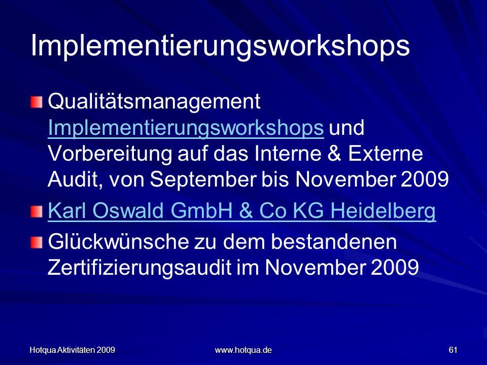Hotqua Aktivitäten 2009 www.hotqua.de 61 Implementierungsworkshops Qualitätsmanagement Implementierungsworkshops und Vorbereitung auf das Interne & Ex
