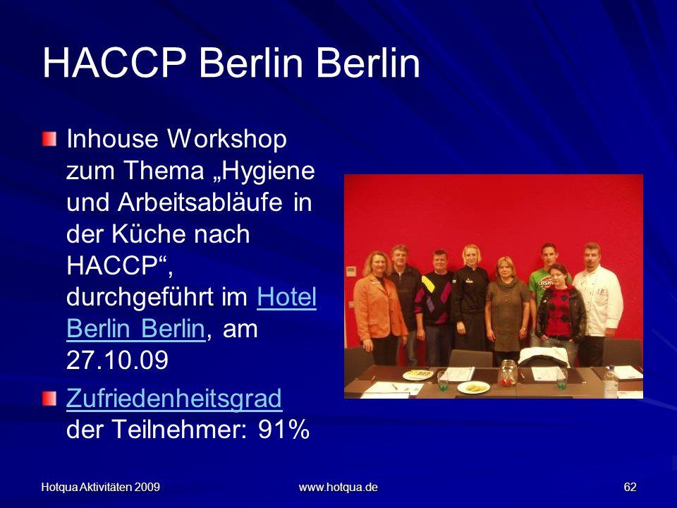 Hotqua Aktivitäten 2009 www.hotqua.de 62 HACCP Berlin Berlin Inhouse Workshop zum Thema Hygiene und Arbeitsabläufe in der Küche nach HACCP, durchgefüh
