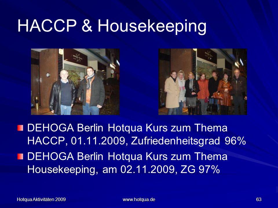 Hotqua Aktivitäten 2009 www.hotqua.de 63 HACCP & Housekeeping DEHOGA Berlin Hotqua Kurs zum Thema HACCP, 01.11.2009, Zufriedenheitsgrad 96% DEHOGA Ber