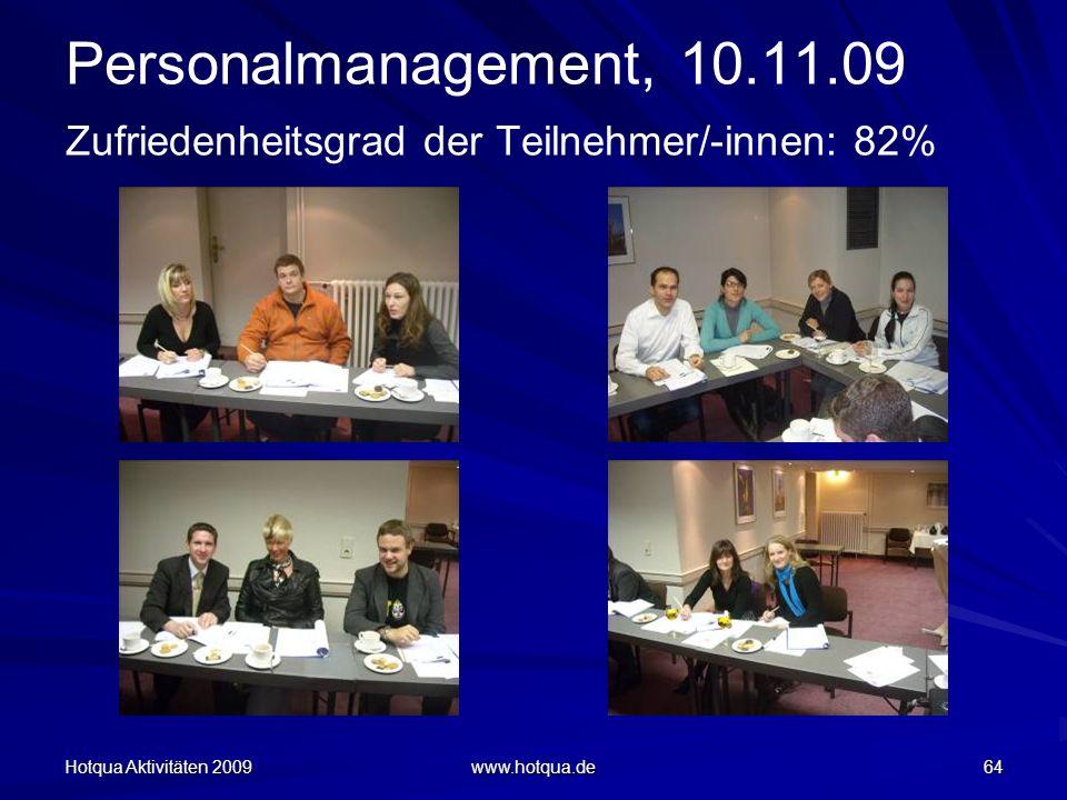 Hotqua Aktivitäten 2009 www.hotqua.de 64 Personalmanagement, 10.11.09 Zufriedenheitsgrad der Teilnehmer/-innen: 82%