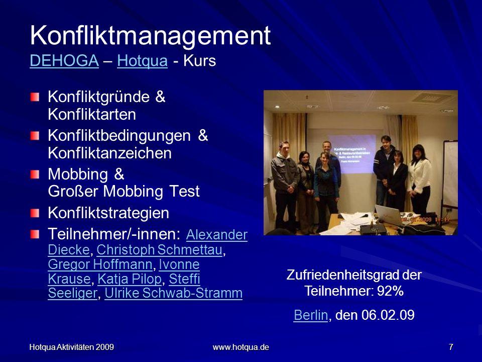 Hotqua Aktivitäten 2009 www.hotqua.de 68 Qualitätsmanager – Kurs Angelika Dirsch Dörte Mäder Philipp Guggenmoos Alexander Diecke Doreen Wirth Qualitätsmanager Weiterbildungskurs nach DIN EN ISO 9001, vom 2-4.12.2009 in Berlin mit offizieller Prüfung von CERTQUA (DIHK)WeiterbildungskursCERTQUA Zufriedenheitsgrad der Teilnehmer/-innen: 88%