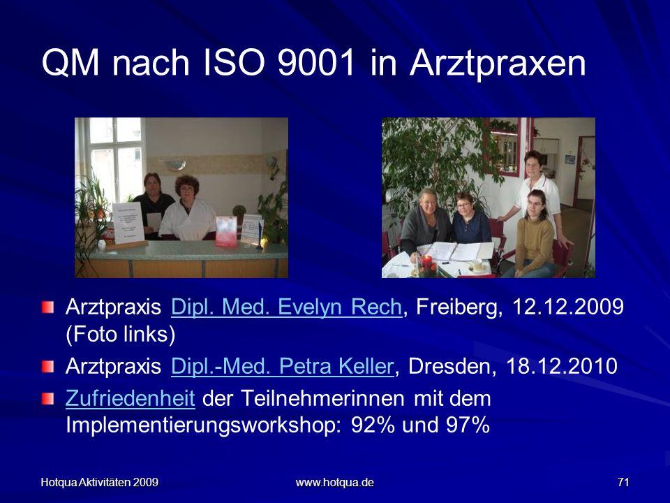 Hotqua Aktivitäten 2009 www.hotqua.de 71 QM nach ISO 9001 in Arztpraxen Arztpraxis Dipl. Med. Evelyn Rech, Freiberg, 12.12.2009 (Foto links)Dipl. Med.