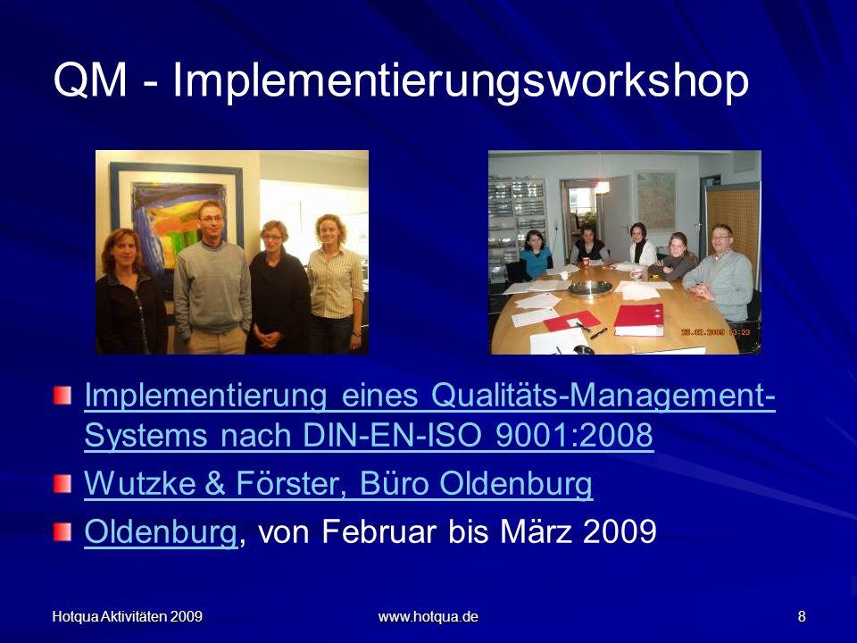 Hotqua Aktivitäten 2009 www.hotqua.de 9 QM - Implementierungsworkshop Workshops zwecks Einführung eines Qualitätsmanagement nach DIN-EN-ISO 9001:2008 in einer Arztpraxis Zufriedenheitsgrad der Teilnehmerinnen: 95% MarienbergMarienberg, 06-07.03.09 v.r.n.l.