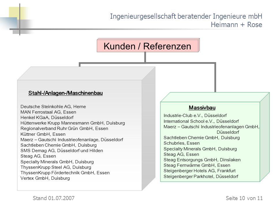 Stand 01.07.2007 Ingenieurgesellschaft beratender Ingenieure mbH Heimann + Rose Kunden / Referenzen Stahl-/Anlagen-/Maschinenbau Deutsche Steinkohle A