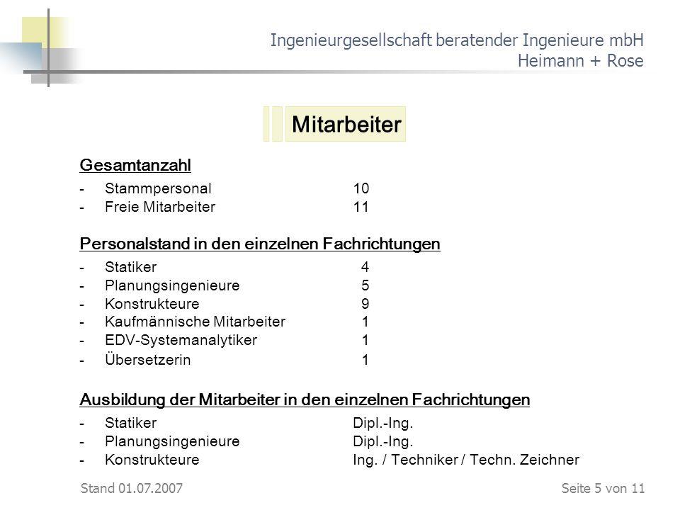Stand 01.07.2007 Ingenieurgesellschaft beratender Ingenieure mbH Heimann + Rose Gesamtanzahl - Stammpersonal10 -Freie Mitarbeiter11 Personalstand in d