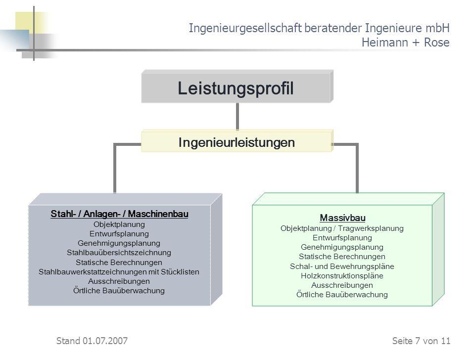 Stand 01.07.2007 Ingenieurgesellschaft beratender Ingenieure mbH Heimann + Rose Leistungsprofil Ingenieurleistungen Stahl- / Anlagen- / Maschinenbau O