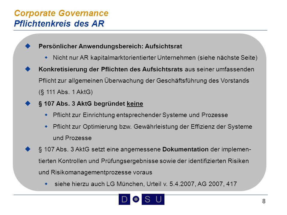 9 Corporate Governance Persönlicher Anwendungsbereich § 107 Abs.